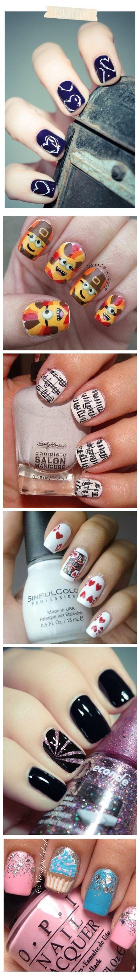 White Doodled Hearts on navy polish nail art