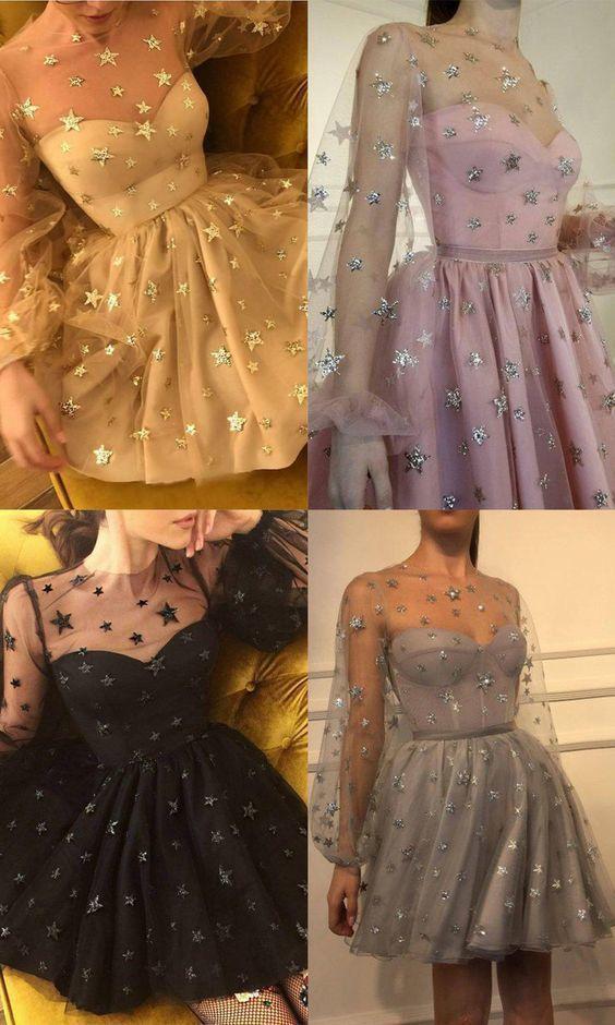 Sparkle Long Sleeve Short Unique Sheer Neck Stars Mini Homecoming Dress