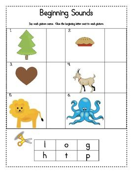 Saxon Phonics Beginning Sounds Cut and Paste
