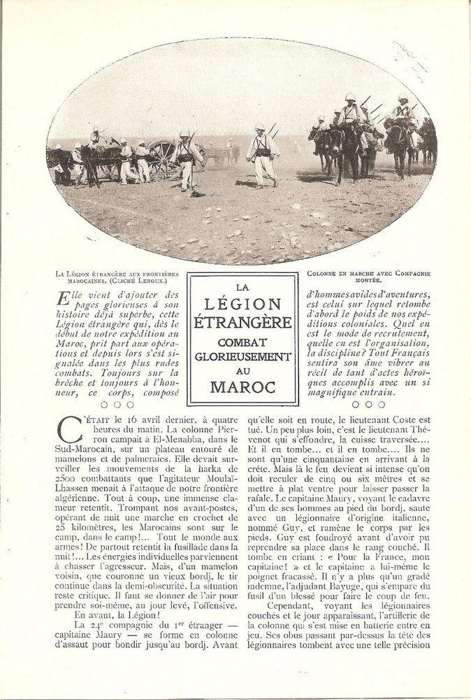La Légion étrangère combat glorieusement au Maroc  - - Coupure de Presse (1908)