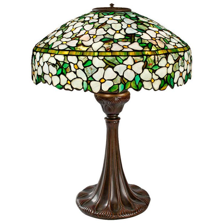 "Tiffany Studios New York ""Dogwood"" Glass and Bronze Table Lamp 