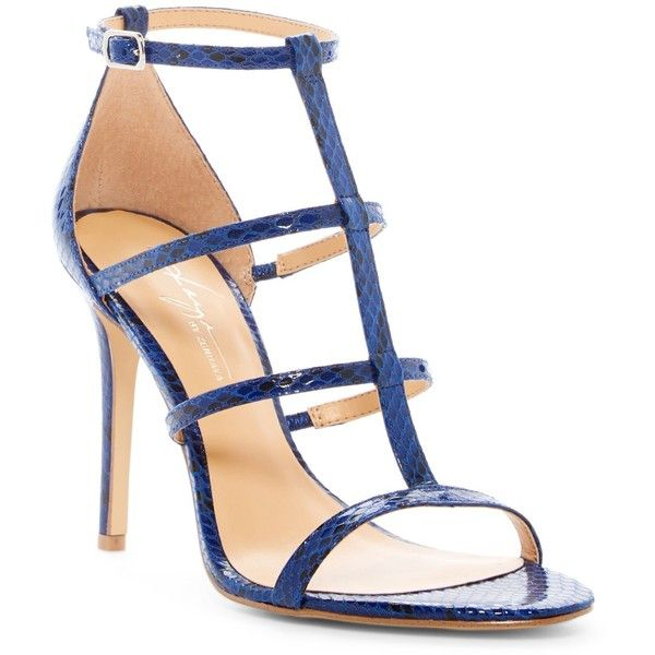 Daya by Zendaya Myra Strappy Sandal ($45) ❤ liked on Polyvore featuring shoes, sandals, blue print, strap shoes, open toe sandals, blue shoes, open toe shoes and caged shoes