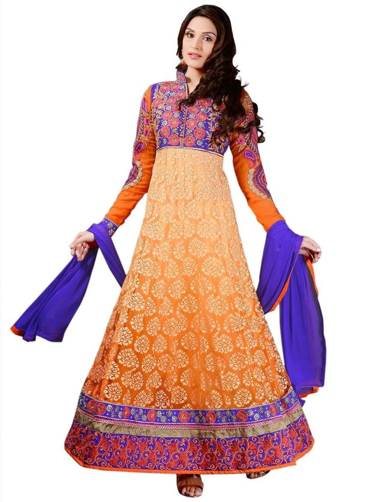 Glamorous orange color Brasso Anarkali Suit. Item Code: SLMG506