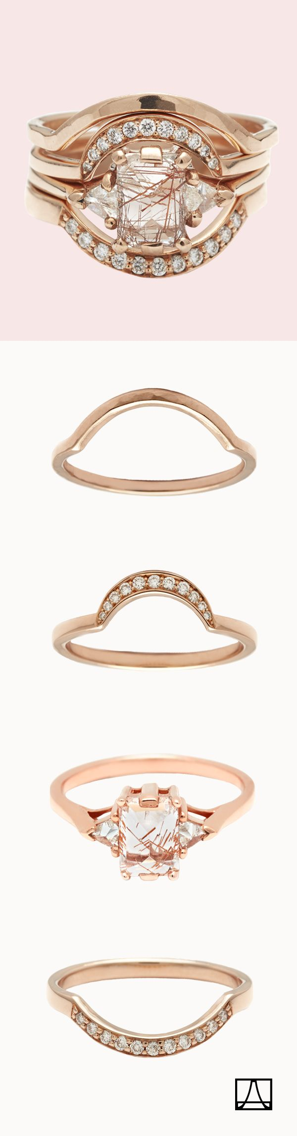 Rose gold Bea ring in copper rutilated quartz and diamonds, haloed with a suite of curved bands in rose gold and diamond pavé.