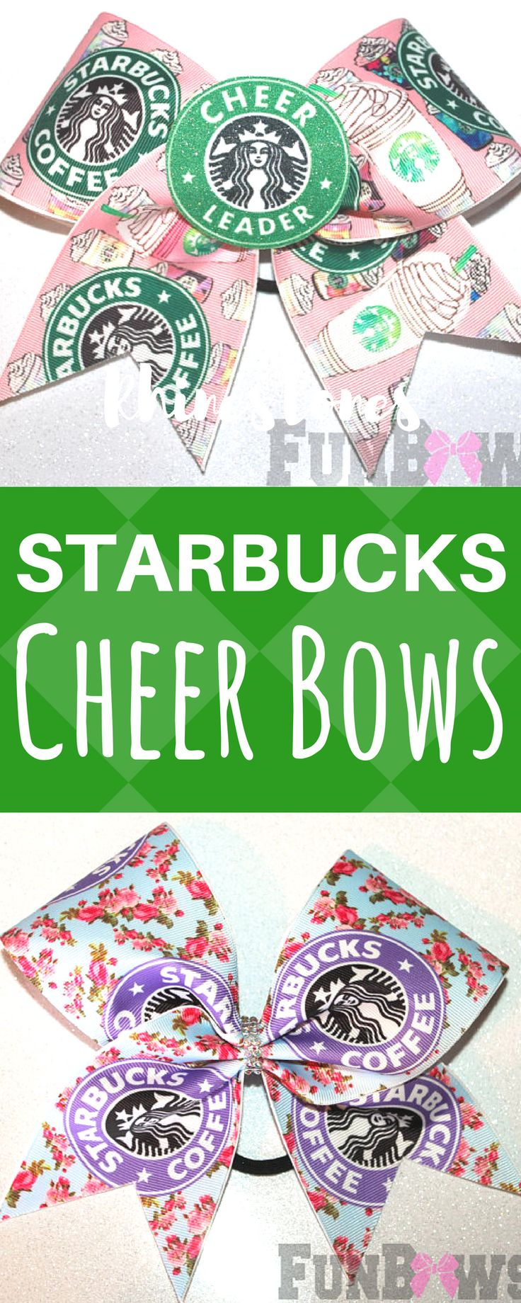 Starbucks cheerleading hair bows. Awesome Floral Starbucks Cheer Allstar sized bow by FunBows. Cheerleader gift. Cheer coach. Coffee loving cheerleader! #starbucks #cheerleading #ad