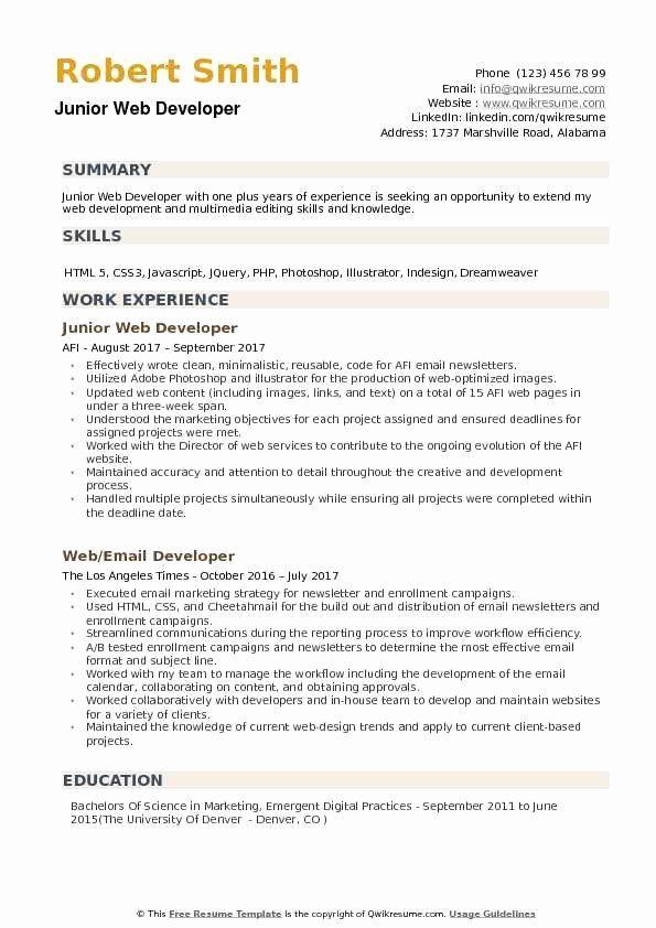 Web Developer Resume Template Awesome Junior Web Developer Resume Samples Web Developer Resume Job Resume Examples Resume Examples