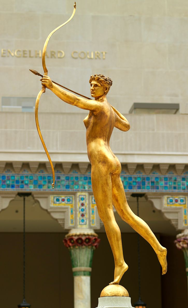Augustus Saint-Gaudens (1848–1907). Diana, 1893–94, cast 1894 or after. The Metropolitan Museum of Art, New York, Purchase, Gift of Lincoln Kirstein, 1985 (1985.353) | For his only female nude, Saint-Gaudens selected Diana, the Roman goddess of the hunt and the moon, artfully aiming her bow and arrow. Poised on tiptoe, she is fleetingly static, depicted in a split-second moment of physical and narrative suspense. #MetViewpoints