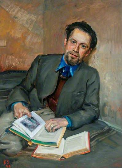 Portrait of Fred Uhlman (1901–1985), 1940 by Kurt Schwitters (German 1887-1948).... Schwitters escaped the Nazi regime of Germany and arrived in Britain in 1940. As a German he faced months of 'enemy alien' internment on the Isle of Man, where he painted fellow internees, including Fred Uhlman, a fellow German & significant artist in his own right....