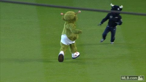 Houston Astros Mascot Orbit Streaks the Field Until He Gets Laid Out By A Flying Bull Mascot [GIF] | FatManWriting