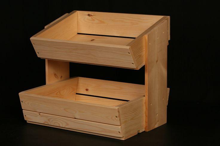 Wooden fruit and vegetable storage rack 2 tier