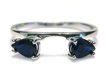 Large Pear Sapphire Ring Wrap Guard Enhancer white gold, I want this wedding band!