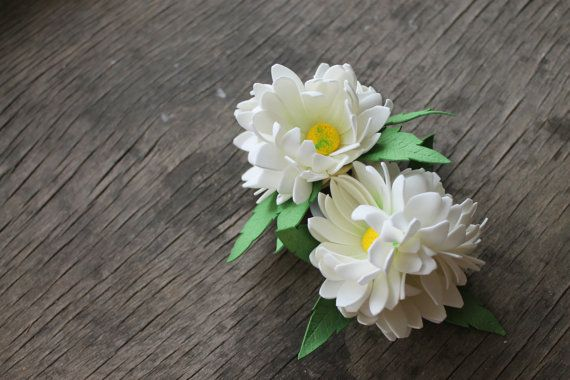 Set of 2 ponytails with fabric daisies foam eva by Sweetpinkbox