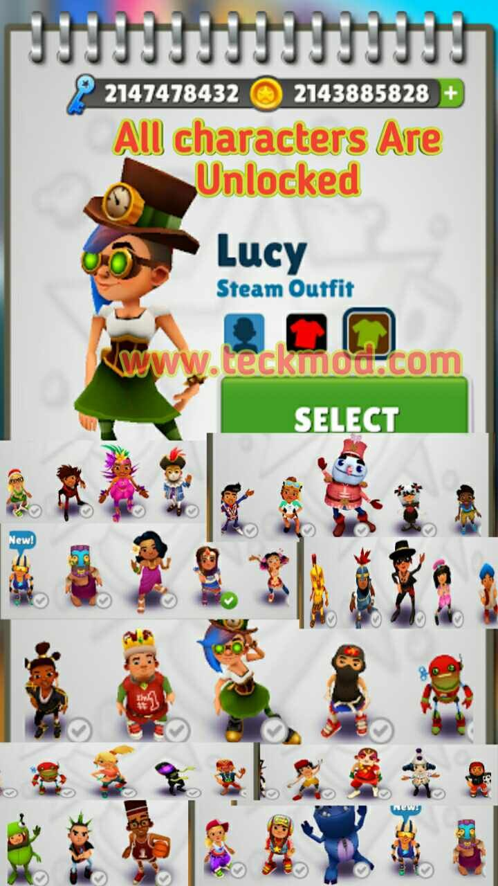 Subway Surf Mod Hacked Game Unlimited Coins Life And Key Teckmod