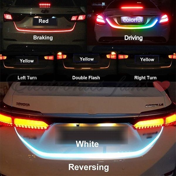 4 Color Flow Type Led Strip Tailgate Turning Signal Lights Bar Truck Strips Rgb Wish Car Led Lights Led Warning Lights Car Led