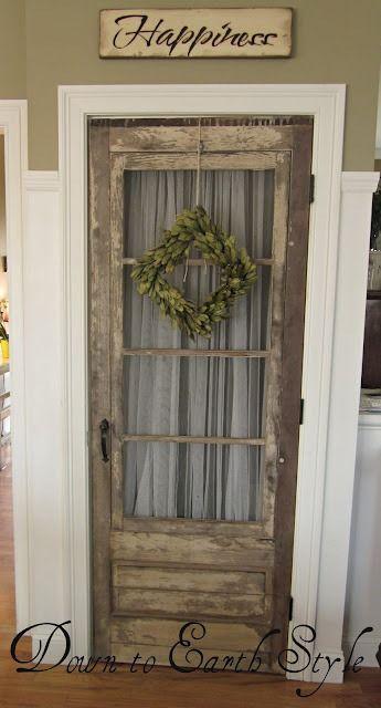 Love this - screen door with sheer curtain for an interior door/pantry door.