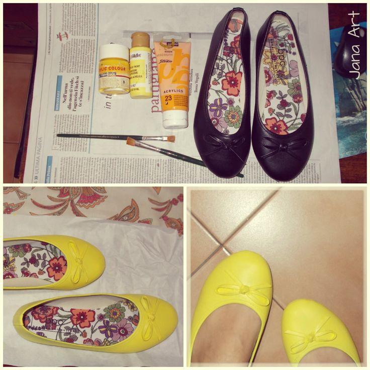 #DIY #ballerinas #shoes #ballerine #painting #DoItYourself #idea #yellow #acrylic