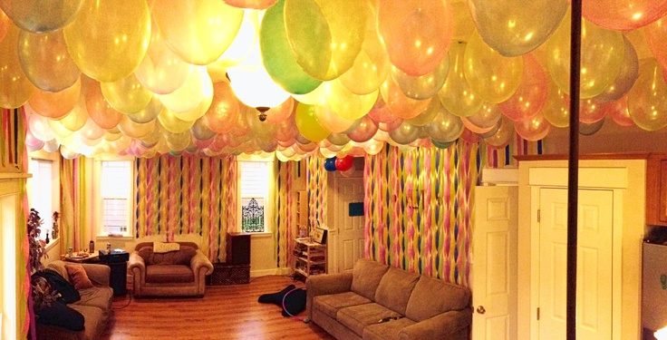Party decorations balloons on ceiling and streamers on for Balloon and streamer decoration ideas