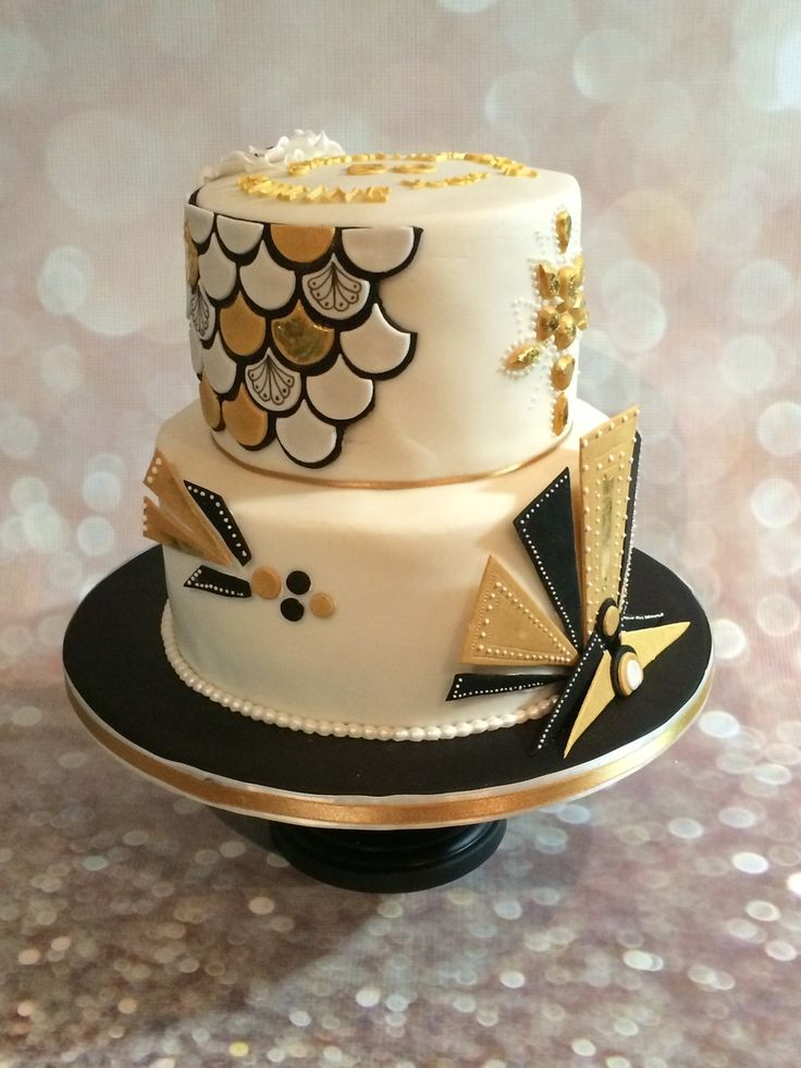 Art Deco Gold & Black  Art Deco Gold & Black  #black #gold #wedding #art-deco #masquerade #cakecentral