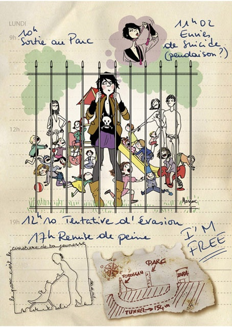 Illustration, pour le coffret de Florence Foresti - Mother Fucker, Sortie au Parc, par Margaux Motin