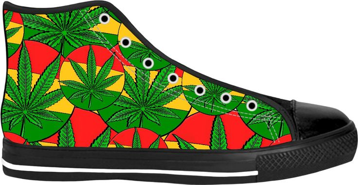 420 ganja leafs reggae style, rasta, red, yellow, green sneakers, weed themed high tops, marihujana leafs pattern shoes - for more art and design be sure to visit www.casemiroarts.com, item printed by RageOn at www.rageon.com/a/users/casemiroarts - also available at www.casemiroarts.com -This product is hand made and made on-demand. Expect delivery to US in 11-20 business days (international 14-30 business days). #sneakers #clothing #style #shoes #hightops #fashion