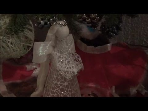 """This video presents how to make an angel. A piece of plastic, cord, hot glue gun, crochet thread, pipe cleaners and beads and a decorative fabric are the main materials. Αυτό το βίντεο παρουσιάζει πως φτάχνω ένα άγγελο. Ενα κομμάτι πλαστικό, κορδόνι, πιστόλι ζεστής σιλικόνης, νήμα για βελονάκι, καθαριστήρες πίπας και χάντρες και διακοσμητικό ύφασμα είναι τα βασικά υλικά """