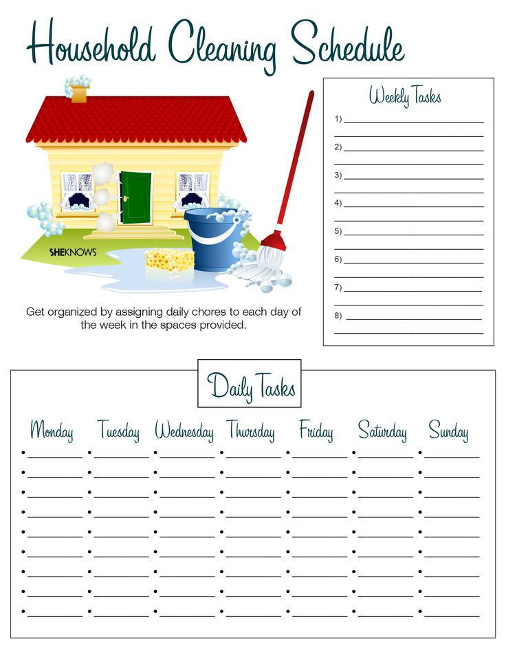 Household cleaning list - Free Printable Coloring Pages