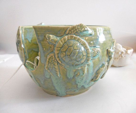 I should start knitting. Or I could display baby pincones in here. Large Sea Turtle Yarn Bowl, Knitting Bowl, Handmade Pottery, IN PRODUCTION by IslandGirlPottery