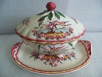 Antique Aprey 1744-1885 French Faience Tureen Bowl & Plate Tropical Birds w/Mark