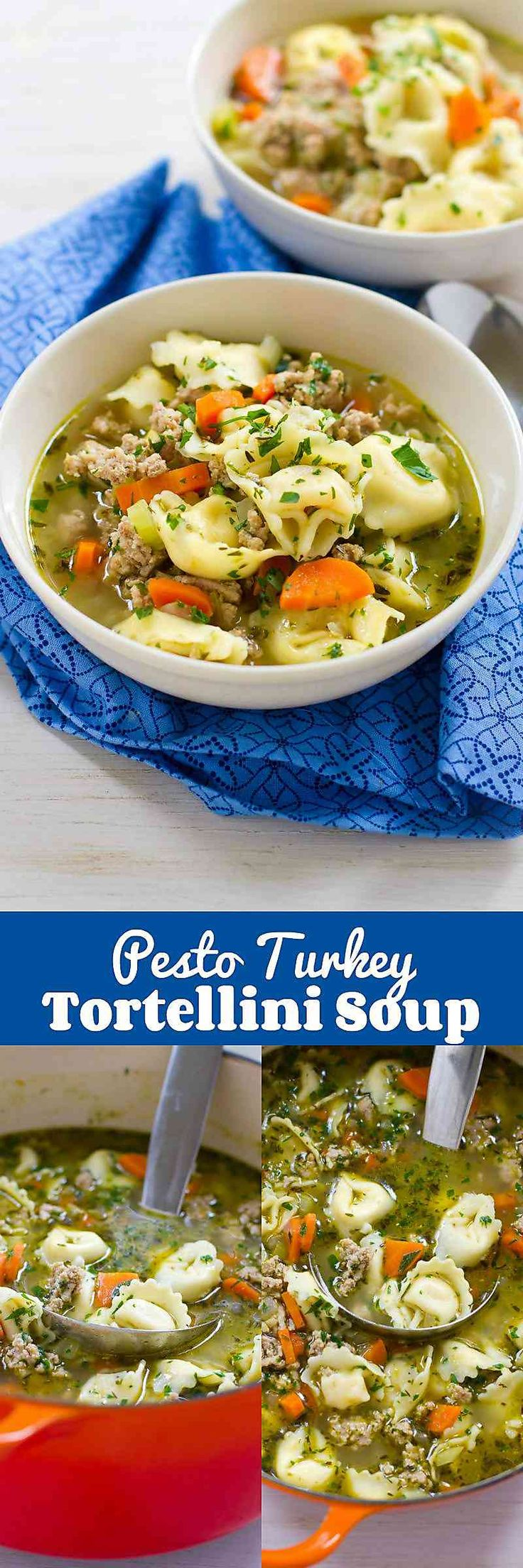 30 minute meal! This healthy Pesto Turkey Tortellini Soup recipe makes cooking easy! 257 calories and 7 Weight Watchers SmartPoints