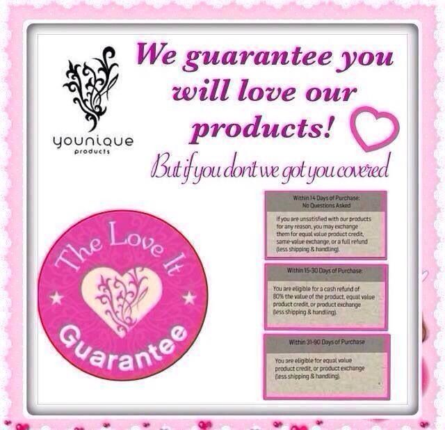 YOUNIQUE'S LOVE IT GUARANTEE!! https://www.youniqueproducts.com/JennDay/business/presenterinfo