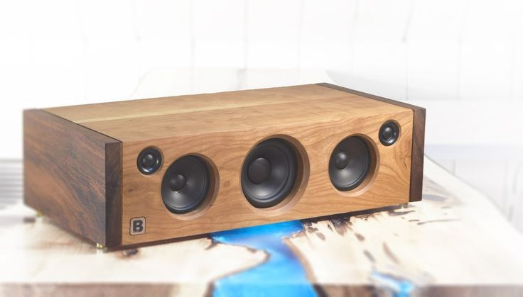 Model 5C is a powerful handmade high-end Bluetooth audio system.  Made of tiger wood and cherry wood. 160 watts of audio power. By PlanB Audio