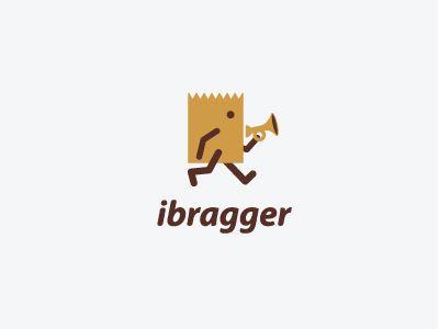 "ibragger logo. Love the little trumpet. Use a trumpet/megaphone to represent the ""brag"" aspect."
