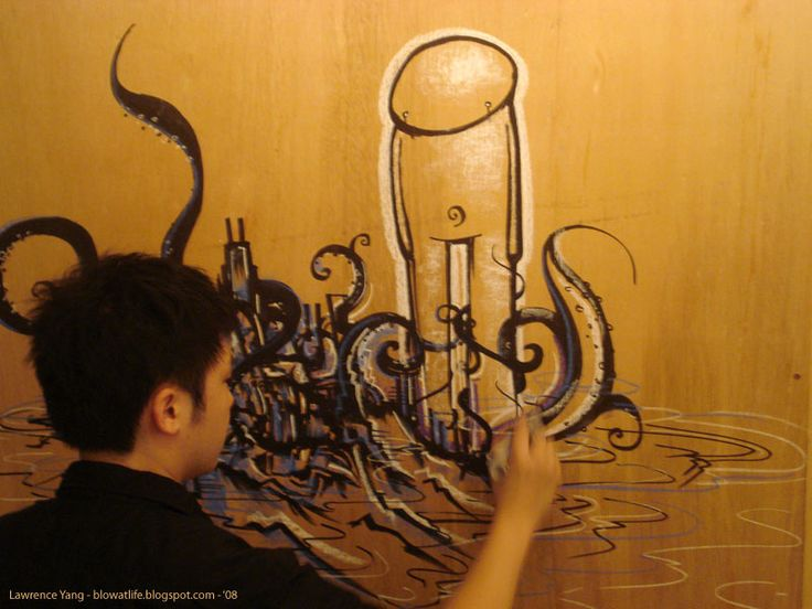 drawing on wood