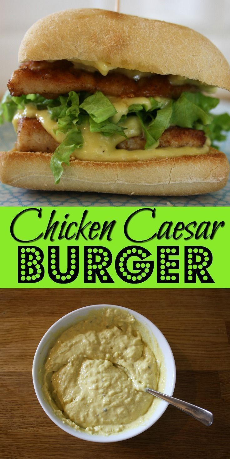 Chicken Caesar Burger. Here's a new take on Chicken Caesar salad by combining it with a giant Parmesan crouton and lashings of Caesar sauce. Perfect food for a summer barbecue.