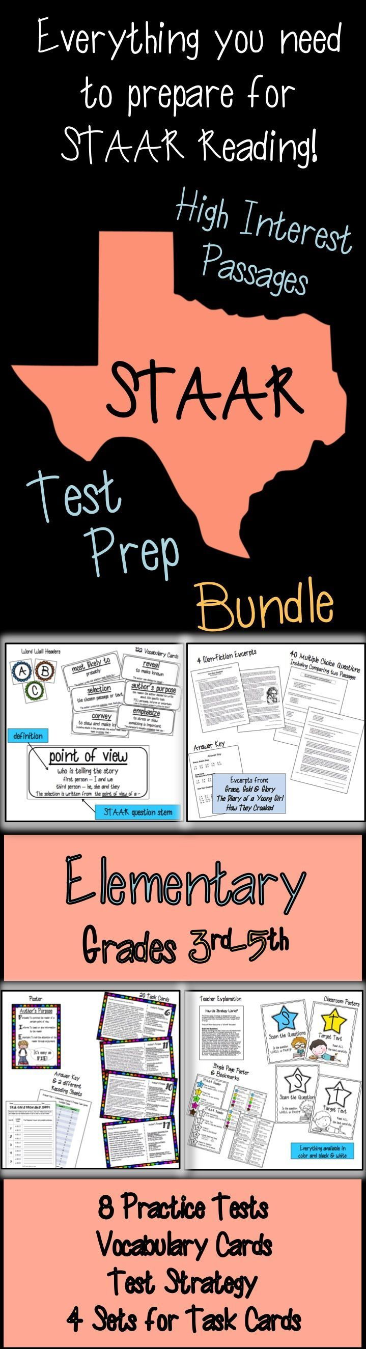 Help your students review and prepare for their STAAR Reading Test in a fun and strategic way! STAAR resources for elementary students! Uses popular chapter books for grades 3-5. Practice Tests, Vocabulary Cards with STAAR question stems, Test Strategy, and Task Cards. Inference, Main Idea, Summarizing, and Author's Purpose.