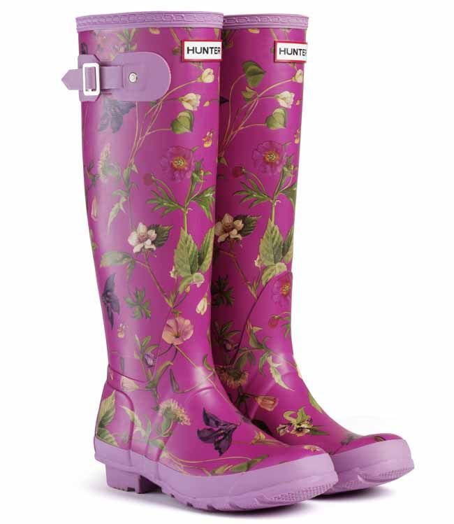 Hunter Wellies Womens Original Tall RHS Floral Violet | Beautiful! These  rain boots make you
