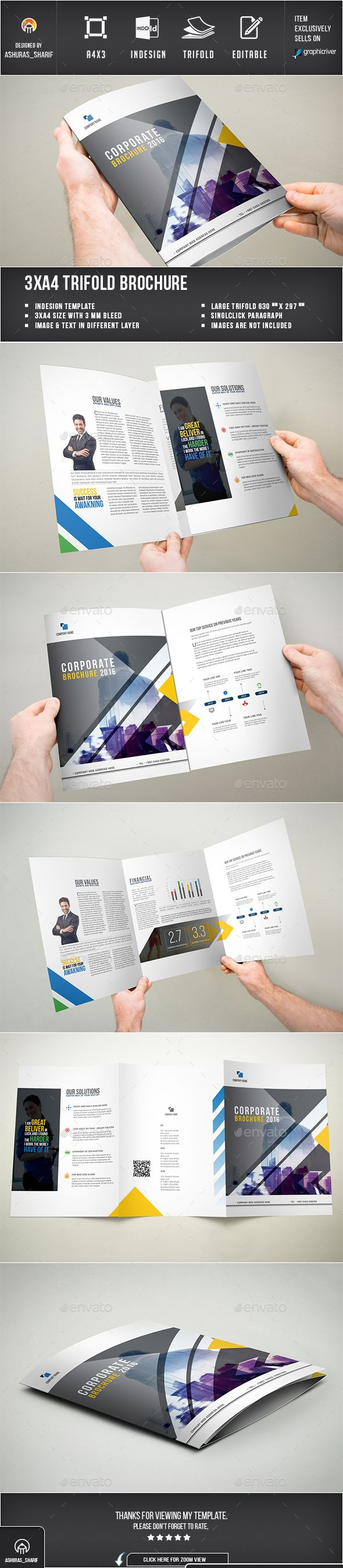 Trifold Brochure - Brochures Print Templates Easy Customization and Editable 3xA4 (630×297) + 3mm bleed Paragraph Style, Character style included Images, text are Different Layers Design in 300 DPI Resolution Simple Color Swatches for apply Whole Documents Indesign files Images are not Included working file adobe cc CC,CS6,CS5 & C4 or latter version supported