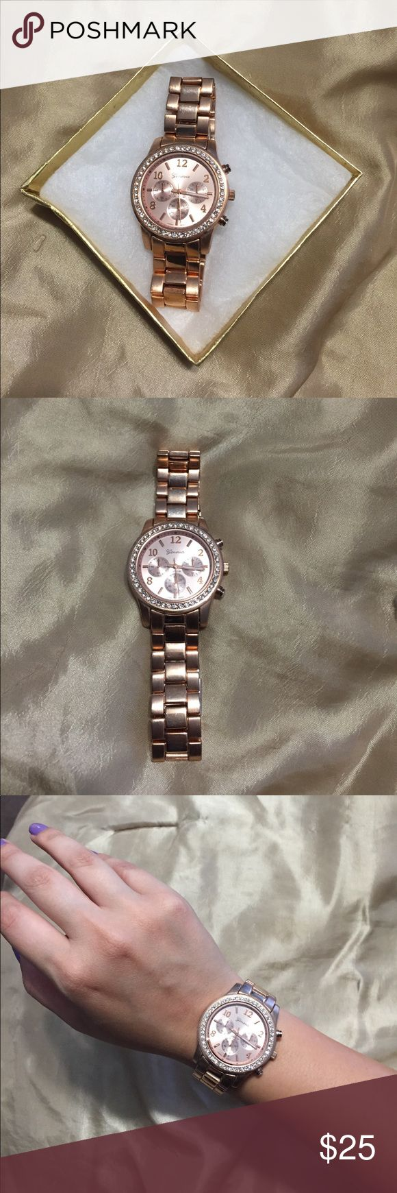 🌹Rose Gold Watch🌹 Bought at a boutique in LA. Doesn't actually work, so you'd have to get it fixed if you wanted. But hey, that's what our phones are for! Lol watches are more of an accessory these days anyways (like a bracelet)😉 Geneva Accessories Watches