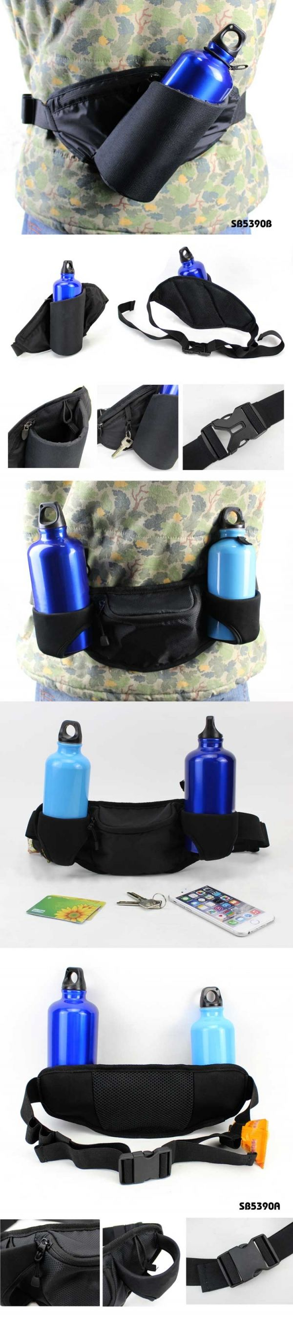 waist bag with water bottle holder ● Material:4228 Jacquard/PU,bottle holder:5MM EVA lining     ● Size:31.5*17.5*9.5CM    ● Big logo printing area    ● OEM design is welcome     Packing :        1pc/OPP bag Carton size :  38*32*45CM/50PCS G.W./N.W.:      11/10(kgs)
