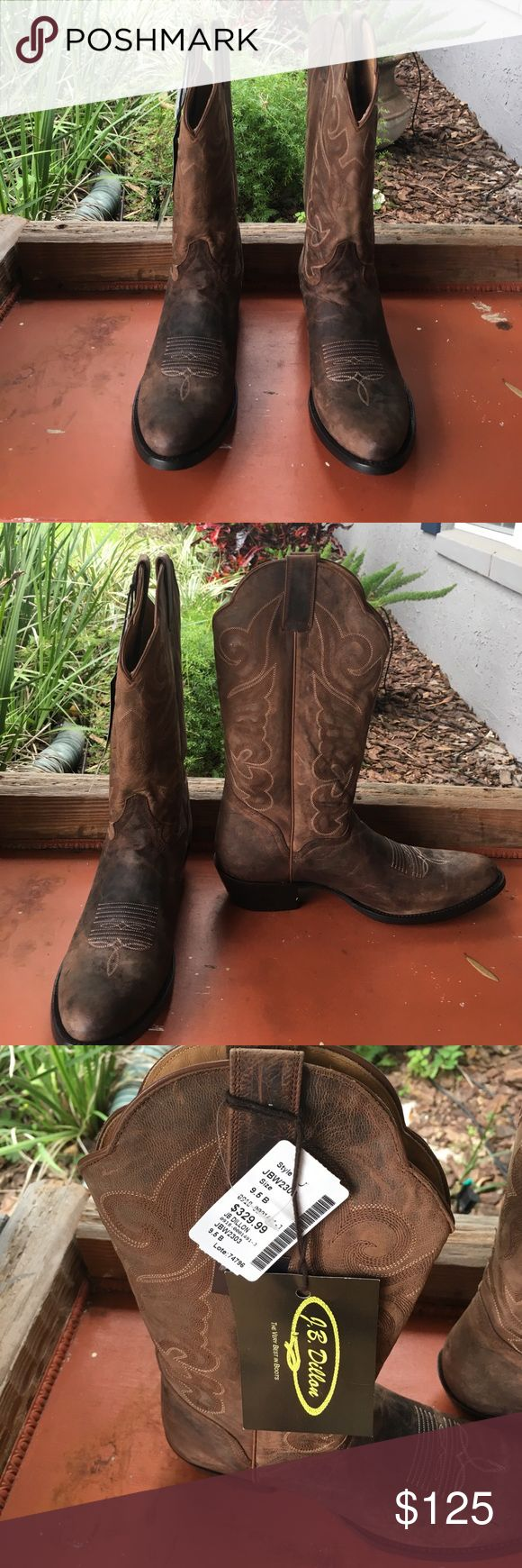 Brown Leather Cow Boy Boots Brown leather cow boy boot. Never been worn. Price tag still on boot. j.b. Dillion Shoes Heeled Boots