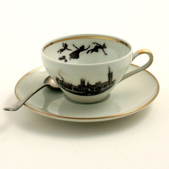 Altered  Peter Pan Cup Saucer Porcelain Dreams Neverland Gold Trim London England White Brown Romantic