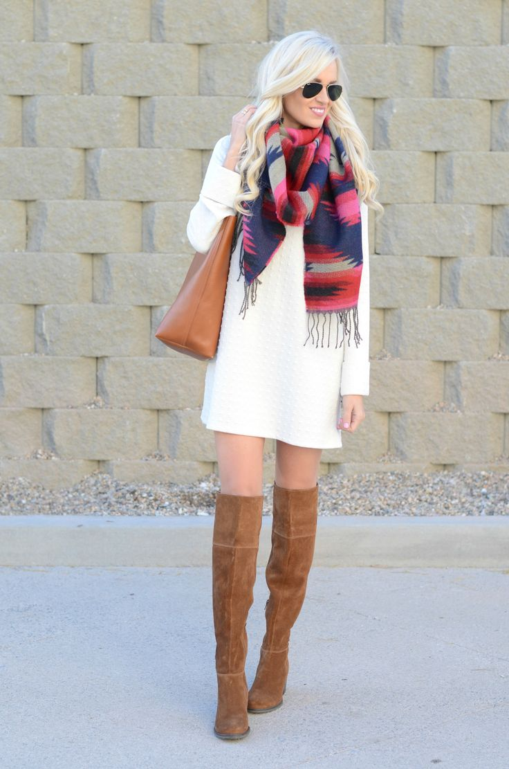 White Shift Dress + Tribal Scarf