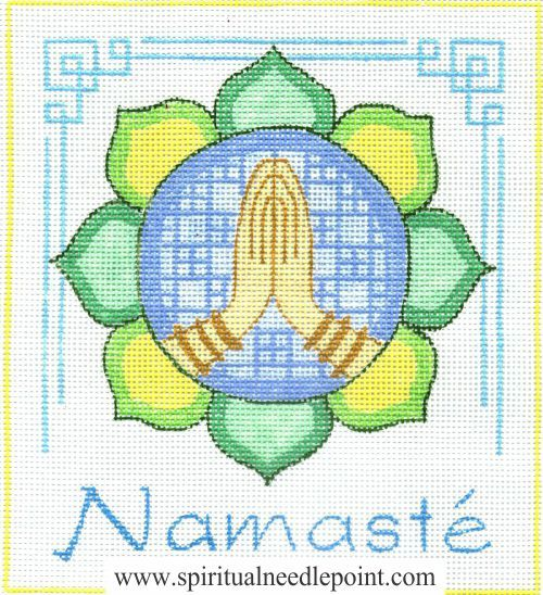 "Spiritual needlepoint - Namaste Mandala, hand-painted, 7"" x 8"" on 13 mesh canvas, made in Sedona, Arizona"