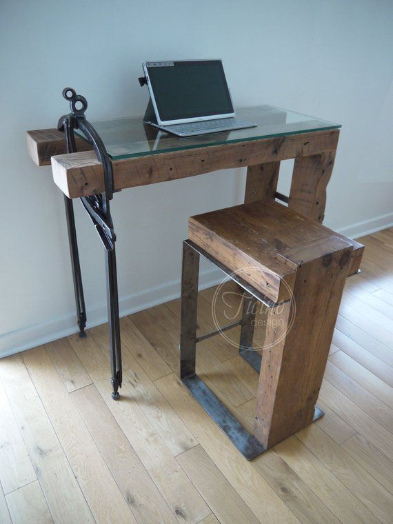 laptop desk rustic computer desk glass laptop stand by ticino rh pinterest com