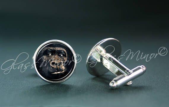 Gorilla Cufflinks, Monkey Animal Nature Woodland Jewelry, Groomsmen Usher Cufflinks, Wedding Cufflinks, Gift for Him, Bird Lover Gift