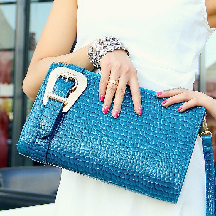 handbag fashion formal 2013 crocodile pattern day clutch bag cross-body blue yellow rose red $24.95 (free shipping)