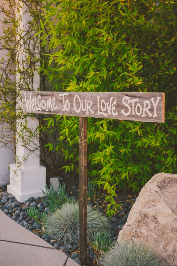 """Welcome to Our Love Story"" wedding signage, wedding planned by Grand Engagements Wedding Planning and Design and photo by Closer to Love Photography 