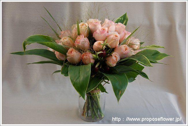 甘いピンクのバラの花束 rose bouquet pink