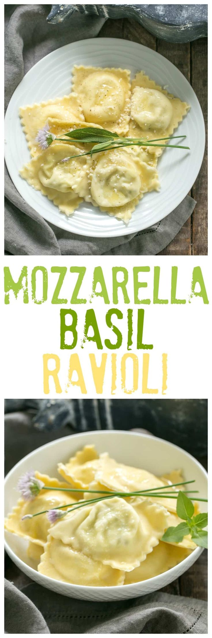 Mozzarella, Basil, Parmigiano-Reggiano Ravioli with Butter Sage Sauce | A simple, delectable egg pasta filled with mozzarella and basil! @lizzydo