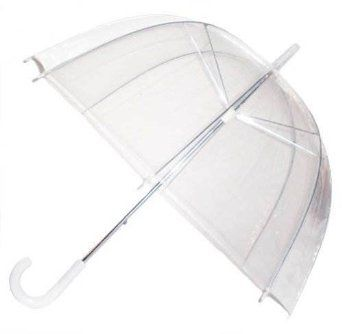 Clear Dome See Through Umbrella With White Handle And Spike: Amazon.co.uk: Luggage £5